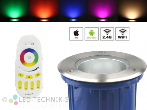 Premium Smart LED Bodeneinbaustrahler 6W RGB+WW Funk WiFi WLAN