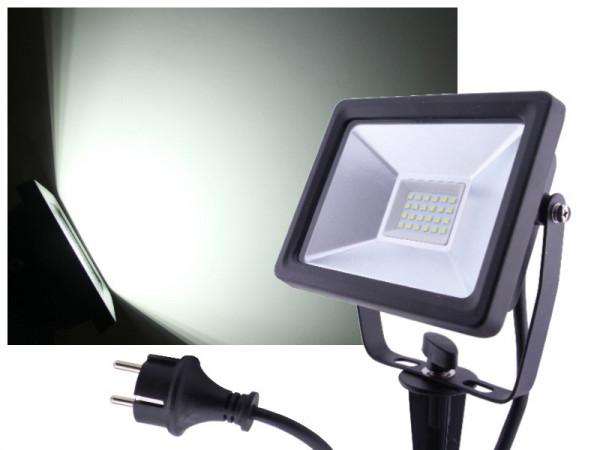 LED Flutlichtstrahler + Erdspieß 20W IP65 230V kaltweiss