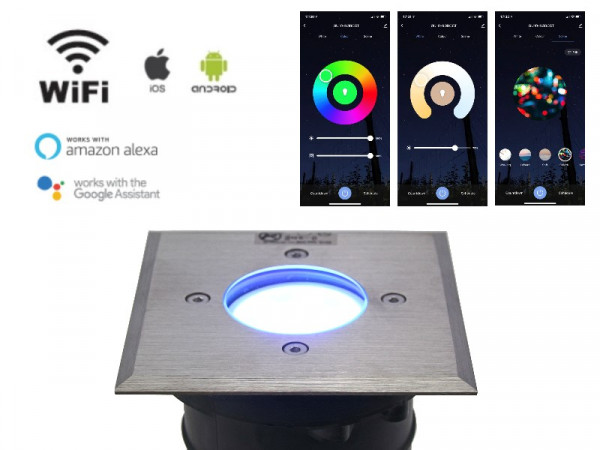 WiFi Smart LED Bodeneinbaustrahler 5W RGB+CCT IP67 eckig