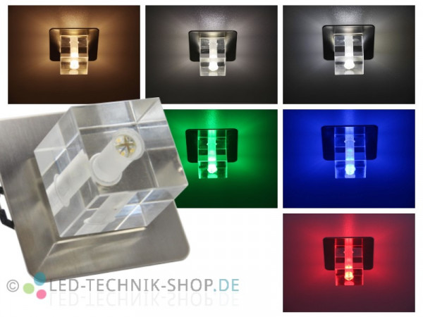LED Glas Design Einbauleuchte 12V 1,5W