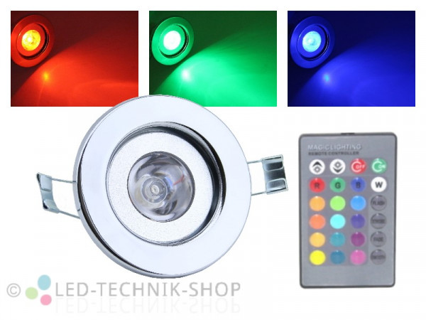 LED RGB Einbaustrahler 3W chrom