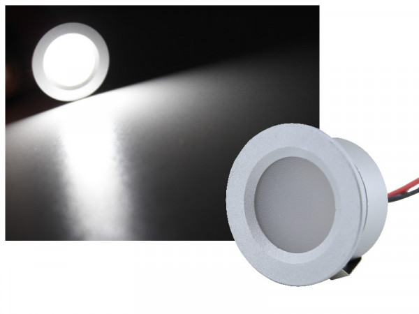 Mini Alu LED Spot IP65 12V 1W kaltweiss