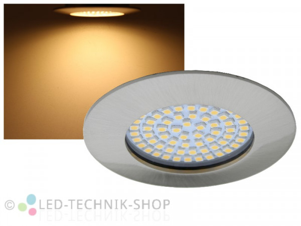 LED Einbaustrahler FLAT chrom-matt 3,5W warmweiss