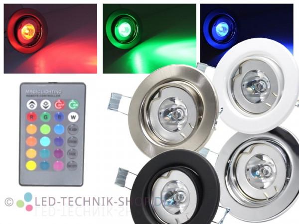 LED RGB Einbaustrahler 3W 230V + Fernbedienung