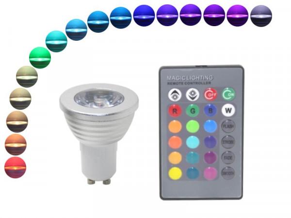 LED Strahler GU10 4W RGB mit Fernbedienung