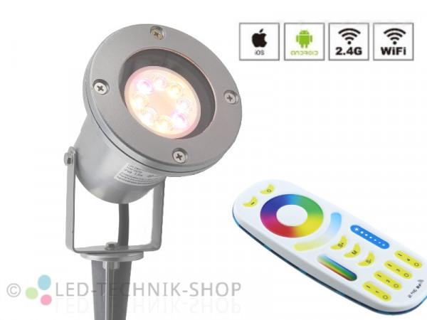 Starter-Set RGB+CCT Funk LED Gartenstrahler 2301SI