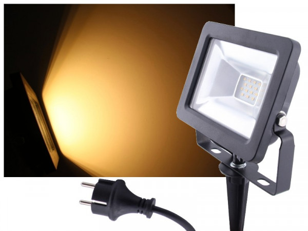LED Flutlichtstrahler + Erdspieß 10W IP65 230V warmweiss