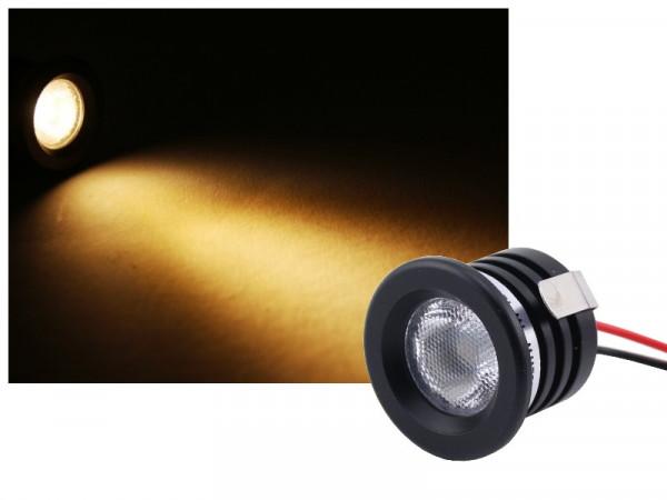Alu Mini LED Spot IP65 12V 1W schwarz warmweiss dimmbar