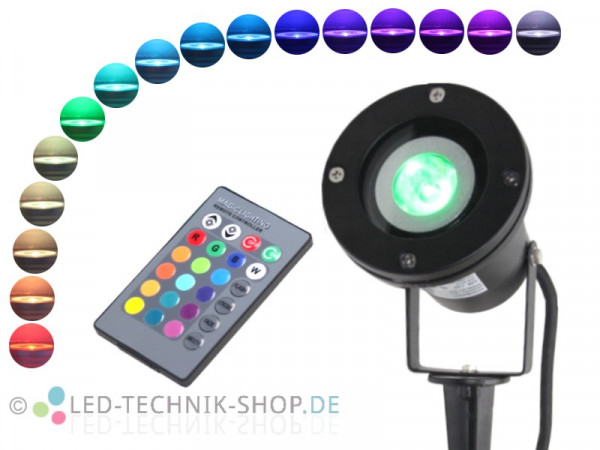 RGB LED Gartenstrahler IP68 Alu schwarz