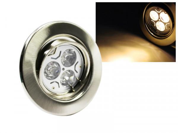 LED Einbaustrahler Downlight chrom-matt 230V schwenkbar 3W warmweiss