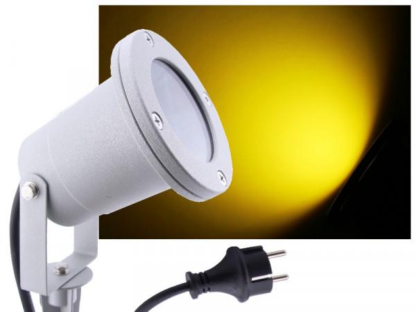 LED Gartenstrahler 7W gelb IP68 230V silber