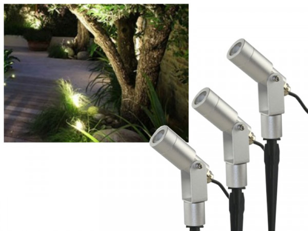 Profi Set 3x 6W CREE LED Gartenstrahler warmweiss