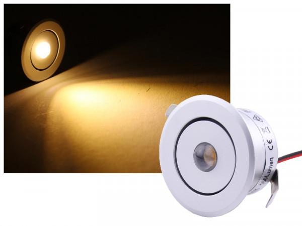Alu Mini LED Spot IP44 schwenkbar 12V 3W silber warmweiss dimmbar