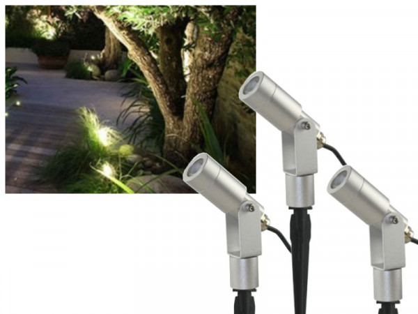 Profi Set 3x 3W CREE LED Gartenstrahler warmweiss