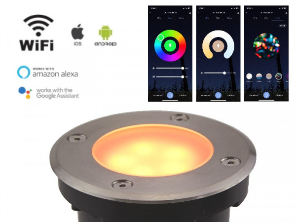WiFi Smart LED Bodeneinbaustrahler 5W RGB+CCT Milchglas IP65 rund