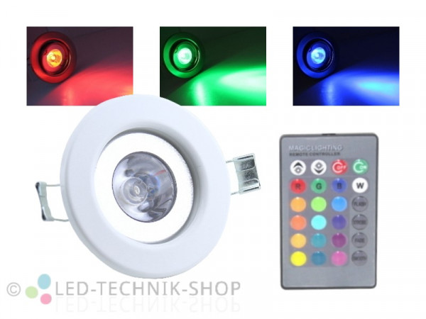 4W RGB LED Einbaustrahler starr weiss