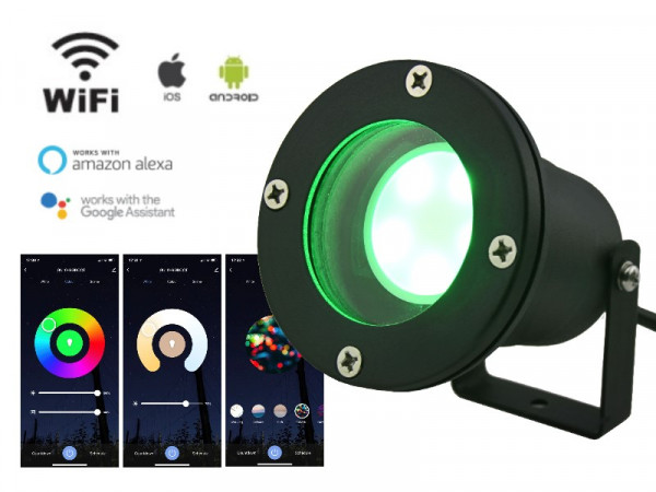 WiFi Smart LED Anbau-/ Unterwasserstrahler 5W RGB+CCT IP68