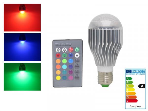 RGB LED Lampe E27 5W mit Fernbedienung