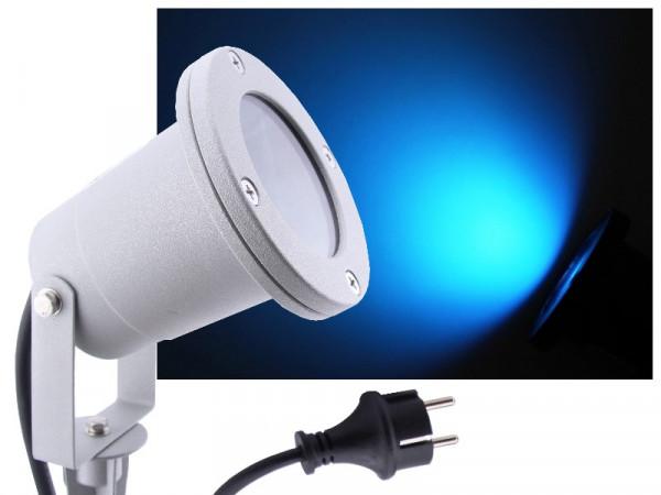 LED Gartenstrahler 7W blau IP68 230V silber