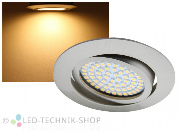 LED Einbaustrahler FLAT+ chrom-matt 3,5W warmweiss