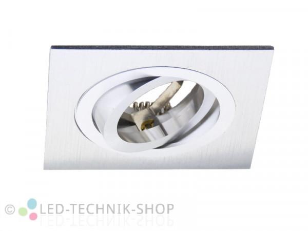 Einbaufassung Aluminium gebürstet eckig GU10 230V