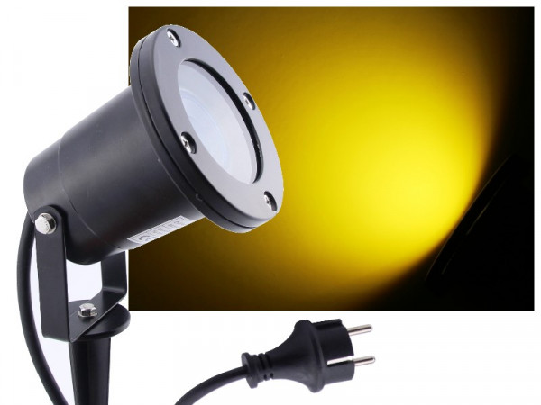 LED Gartenstrahler 7W gelb IP68 230V schwarz