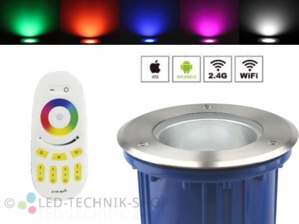 Premium Smart LED Bodeneinbaustrahler 6W RGB+CW Funk WiFi WLAN