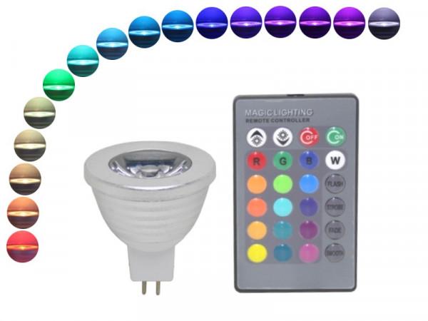 LED Strahler MR16 GU5,3 4W RGB mit Fernbedienung