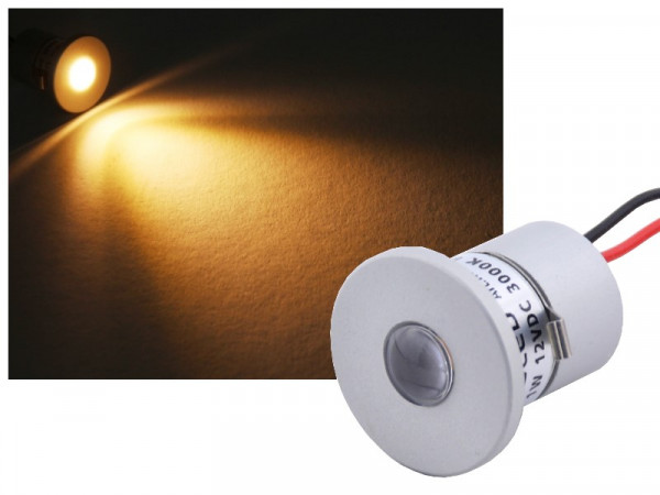 Alu Mini LED Power Spot IP65 12V 1W warmweiss dimmbar