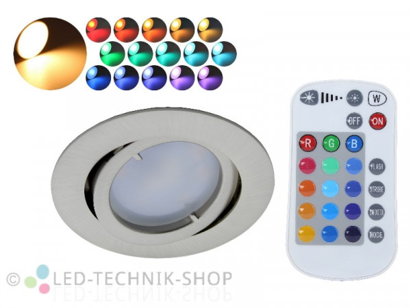 5W RGBW LED Einbaustrahler rund + Fernbedienung