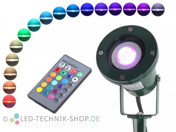 RGB LED Gartenstrahler IP68 Alu grün