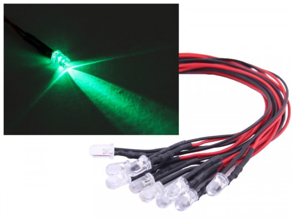 10x 5mm LED 12V grün verkabelt