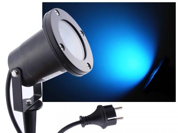 LED Gartenstrahler 7W blau IP68 230V schwarz