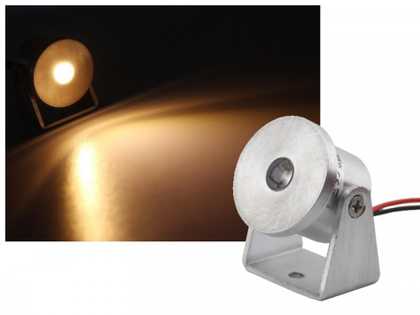 Alu Mini LED Aufbau Strahler 1W 350mA warmweiss dimmbar