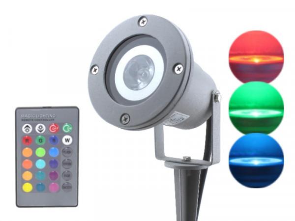 RGB LED Gartenstrahler IP68 3W silber-grau
