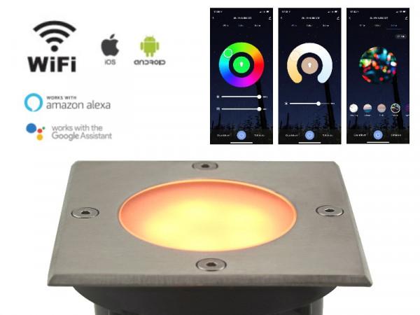 WiFi Smart LED Bodeneinbaustrahler 5W RGB+CCT Milchglas IP65 eckig