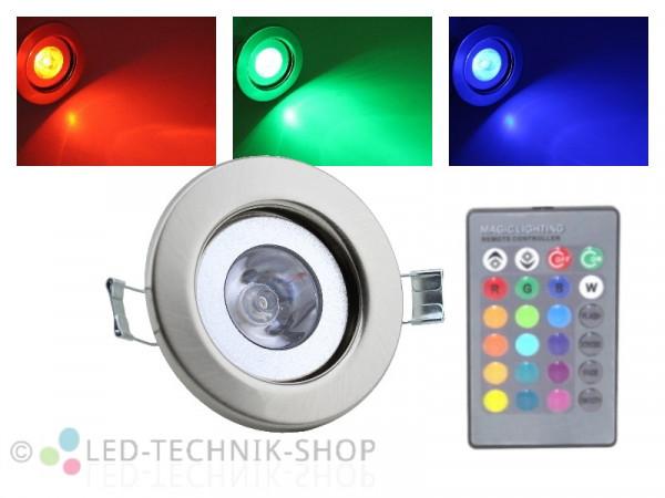 LED RGB Einbaustrahler 3W chrom-matt