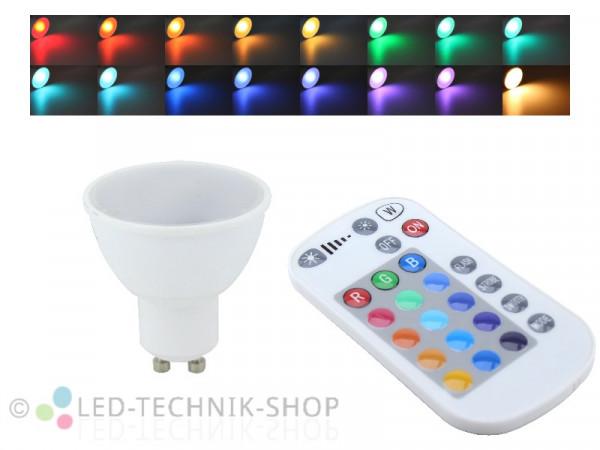 RGBW Leuchtmittel 5W GU10 + Fernbedienung