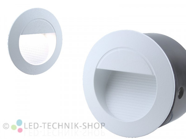LED Wandeinbauleuchte IP65 230V 1,2W weiss rund