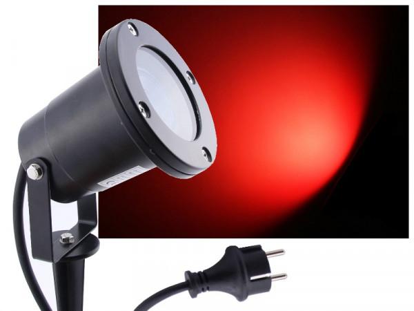 LED Gartenstrahler 7W rot IP68 230V schwarz