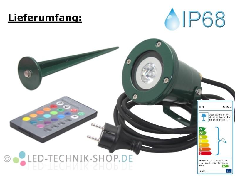 LED Gartenstrahler IP68 grün Alu RGB Fernbedienung Stecker 2,5m Kabel