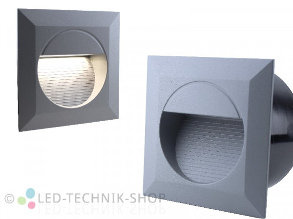 LED Wandeinbauleuchte IP65 230V 1,2W silber-grau eckig
