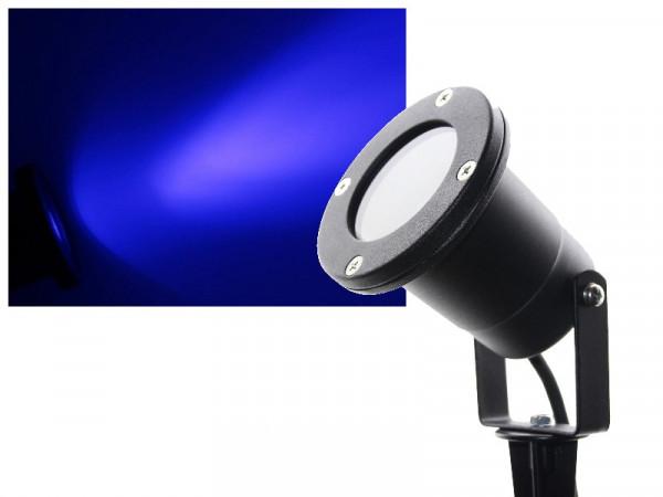 3W Power LED Gartenstrahler mit Erdspieß 230V blau