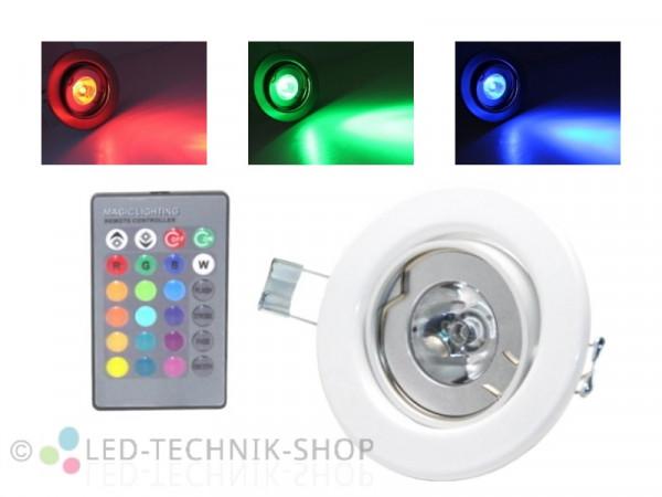 4W RGB LED Einbaustrahler schwenkbar weiss