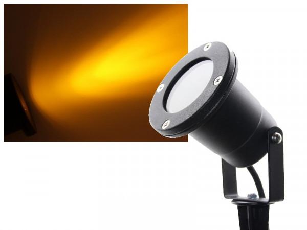 3W Power LED Gartenstrahler mit Erdspieß 230V gelb / orange