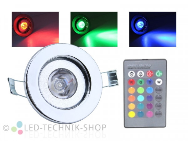 4W RGB LED Einbaustrahler starr chrom