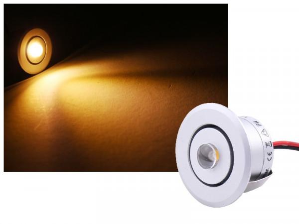 Alu Mini LED Spot IP44 schwenkbar 12V 1W silber warmweiss dimmbar