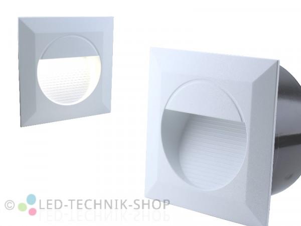 LED Wandeinbauleuchte IP65 230V 1,2W weiss eckig