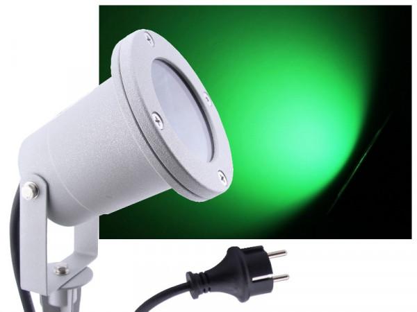 LED Gartenstrahler 7W grün IP68 230V silber