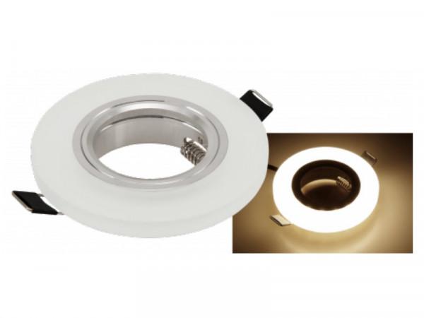 Einbaufassung Milchglas + LED warmweiss rund GU10